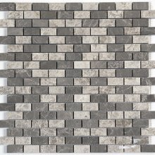 MARBLE BRICK JOINT GREY BLEND 0.6x1.3 POLISHED 12X12 SHEET  GM.GRY.BL.0.6X1.3