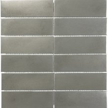 METAL MOSAICS SATIN PEWTER 2x6 STACKED (UNSANDED GROUT)  79-162