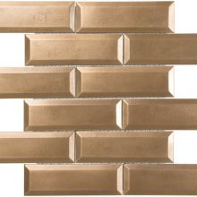 METAL MOSAICS SATIN BRONZE 2x6 BEVELED BRICK (UNSANDED GROUT)  79-165