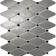 METAL MOSAICS SATIN PEWTER .x. CLIPPED DIAMOND WITH MARBLE  79-178