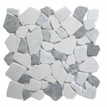 27STM020 MARBLE MOSAIC PEBBLES MULTI WHITES & GREY 12x12  .