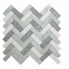 55STM020 HERRINGBONE CARRARA WHITE THASSOS & ANTIQUE MARBLE 12x12 HONED  .