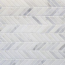 MARBLE CHEVRON PALM TEMPLE GREY/ORIENTAL WHT 12x12 MOSAIC FULL BOXES ONLY  .