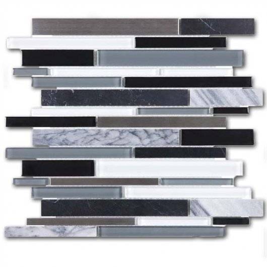GLASS STONE STAINLESS ARCTIC NIGHT 12x12 LINEAR  35-049