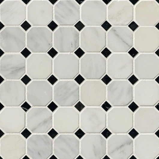 GREECIAN WHITE OCTAGON POLISHED W/ BLACK DOT 12x12  THDW1-SH-GWO