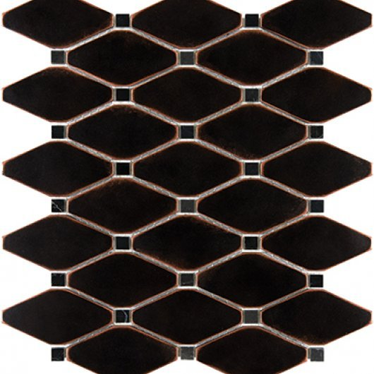 METAL MOSAICS SATIN OIL RUBBED BRONZE .x. CLIPPED DIAMOND WITH MARBLE  79-179